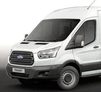Image of the front of the Ford Transit 12 seat T350 minibus