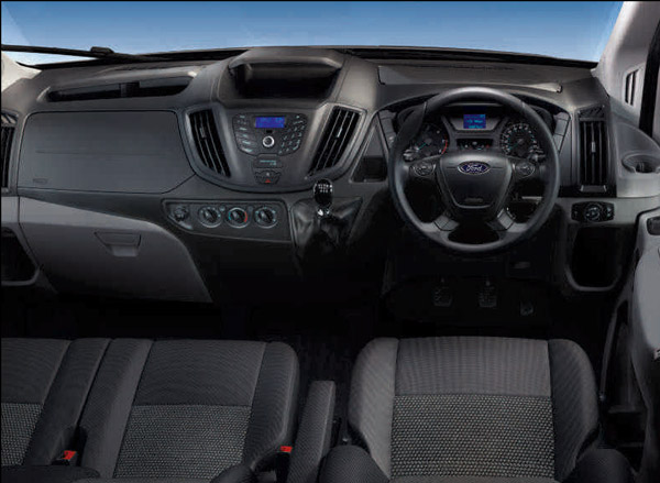Image of the dash of the BASE model Ford Transit 12 seat T350