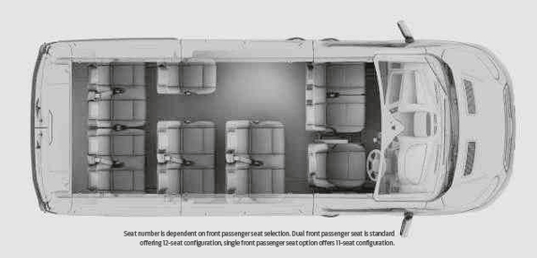 Layout of the Ford Transit 12 seat T350 & T370