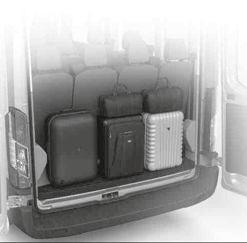 Image of the rear of a 12 seat Ford Transit