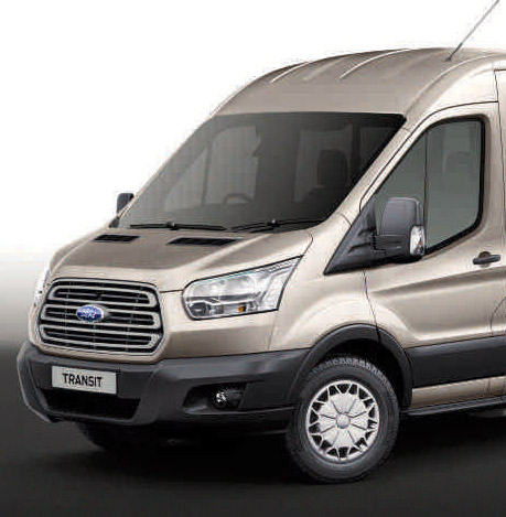 Image of the front of a Ford Transit 12 seat TREND minibus