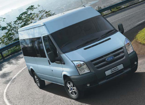 an image of a Ford Transit 14 seater with optional alloy wheels