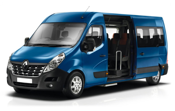 image of a Renault Master 17 seat minibus with optional alloy wheels and metallic paint