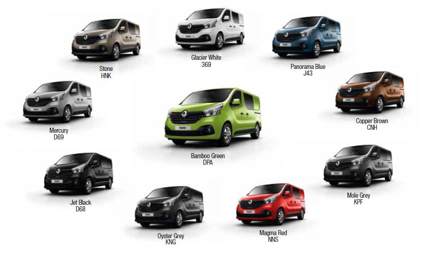 Image of the available colours for the crew van