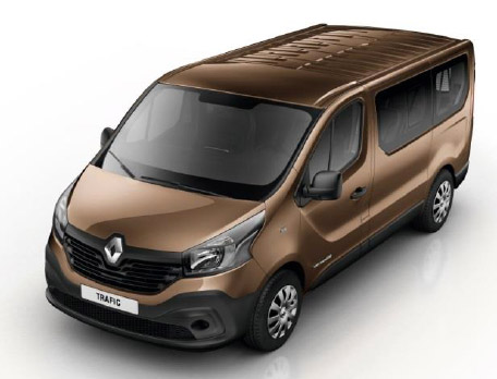 Image of a Renault Trafic SL27 9 seat business model minibus in optional copper brown metallic